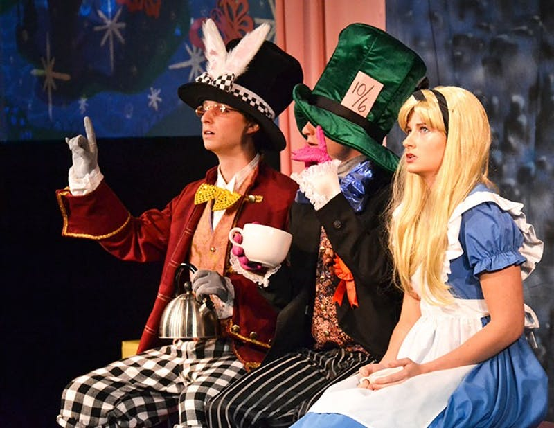 Junior Halle Shank as Alice, along side of her cast mates, performs a rendition of Alice in Wonderland for Shippensburg children to enjoy.