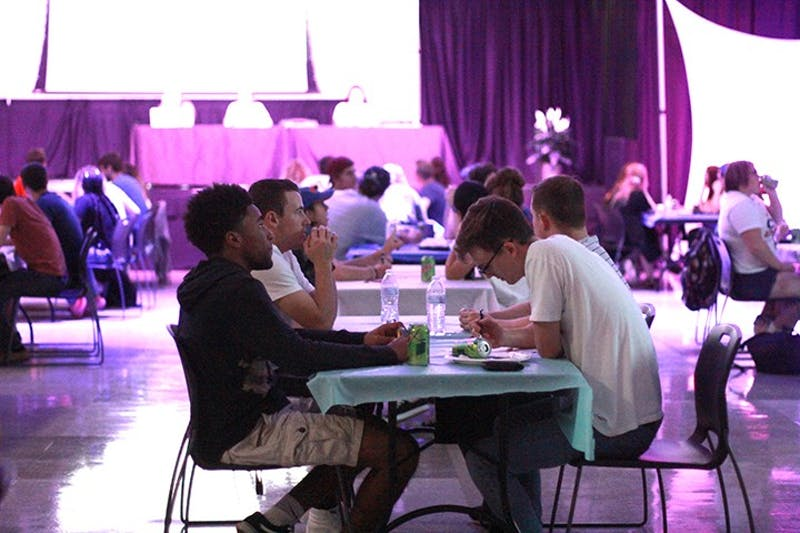 Students test their trivia knowledge while competing in APB's trivia night Thursday in the Ceddia Union Building Multipurpose Room.