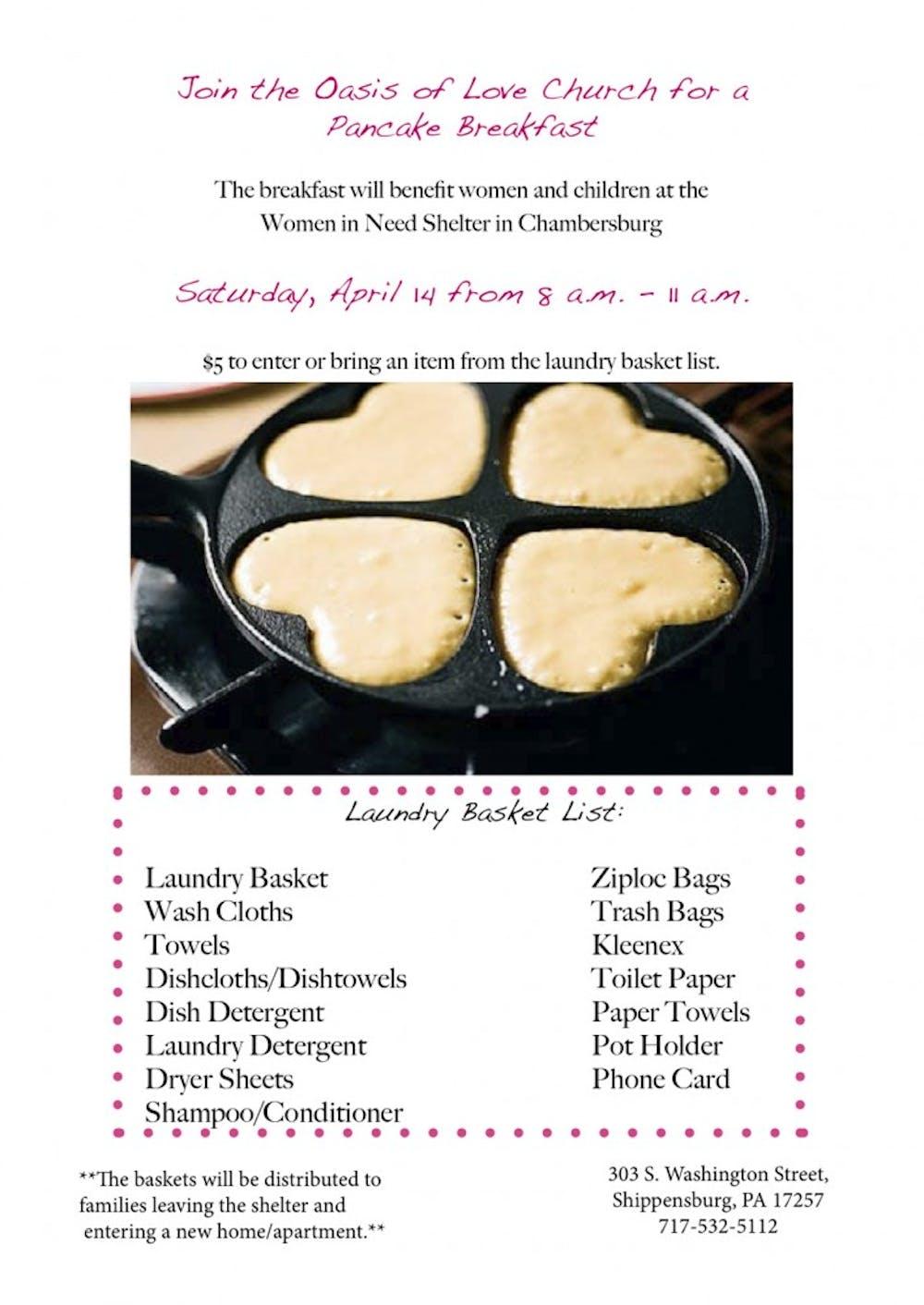 Oasis of Love Church to host pancake breakfast