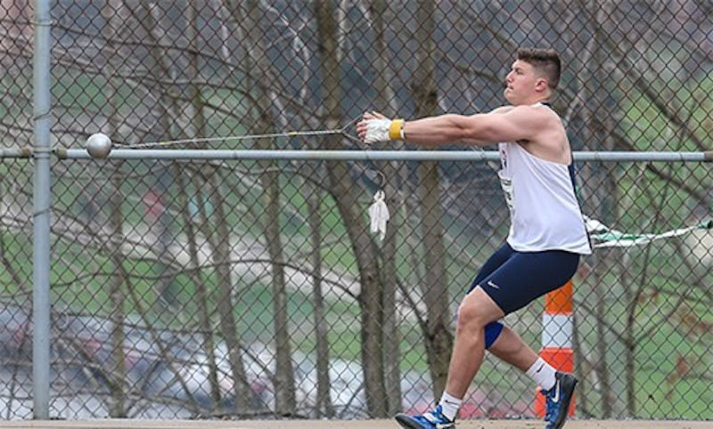 Cam Strohe is one of several Raiders who satisfied conference standards. He earned two personal records in the hammer and the shot put for PSAC qualifiers.