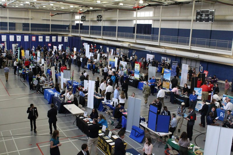 SU students meet more than 130 organizations during Thursday's career fair. The CCEC hosts several career fairs a year and allow students to provide feedback on which employers they would like to see in attendance.