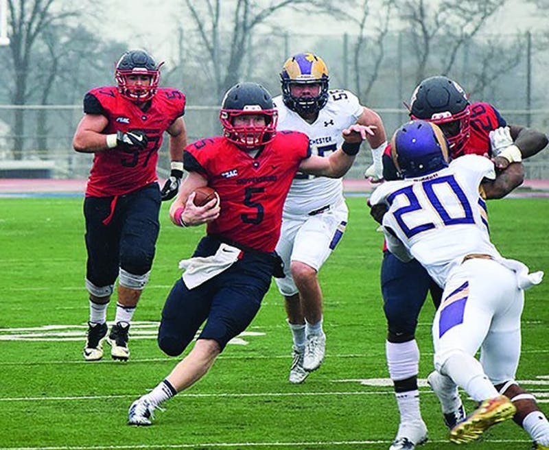 Shippensburg University quarterback Ryan Zapoticky (center) saw his NFL dreams come to fruition on Sunday when he was invited to the Bills' rookie minicamp. Zapoticky is first all-time in SU TDs scored.