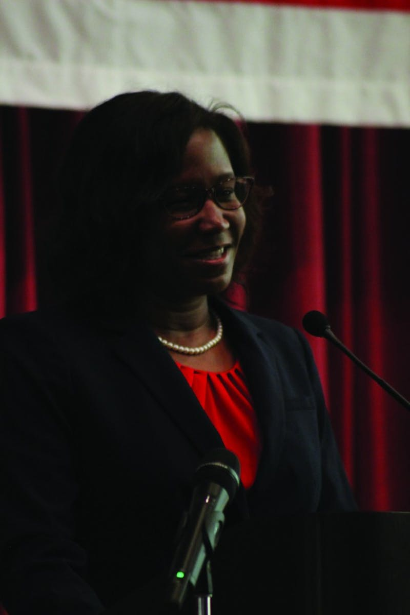 Laurie Carter was introduced as SU's next president during an induction ceremony in May.