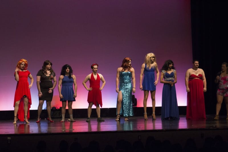 Drag show contestants strut the stage for charity.