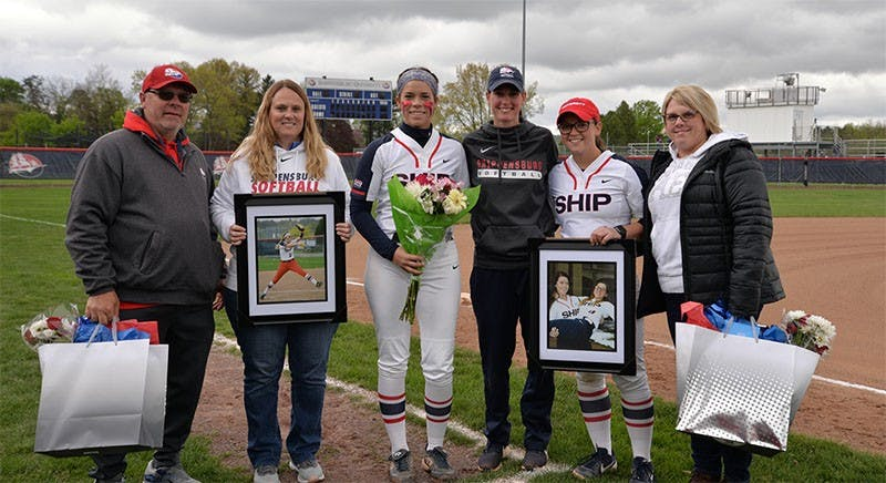 The softball team honors their two seniors Taryn Wilson and Jayci London on Senior Day before their doubleheader against East Stroudsburg University.