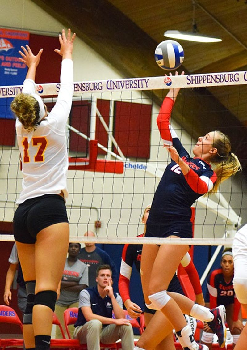 Shippensburg's Samantha Webber goes up for a kill against Gannon University on Friday night at Heiges Field House. Despite dropping the first two sets, the Raiders rallied back to edge the defending conference champs in five sets.
