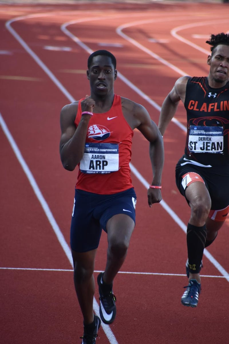 Aaron Arp Jr. destroyed competition in his 2019-20 campaign, earning the 2020 PSAC Men's Indoor Track Athlete of the year award. His successes also include an SU athletics record.