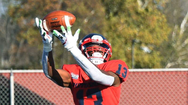Former SU receiver Winston Eubanks catches a long touchdown pass from quarterback Brycen Mussina. Eubanks tallied 14 touchdowns in his career at Ship.