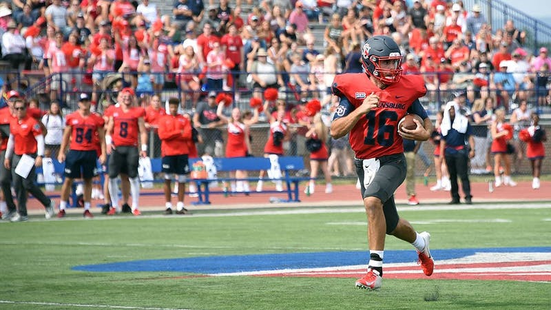 Junior quarterback Brycen Mussina throws for two touchdowns and running back Bill Williams runs for 2 more touchdowns in big win over Edinboro University.