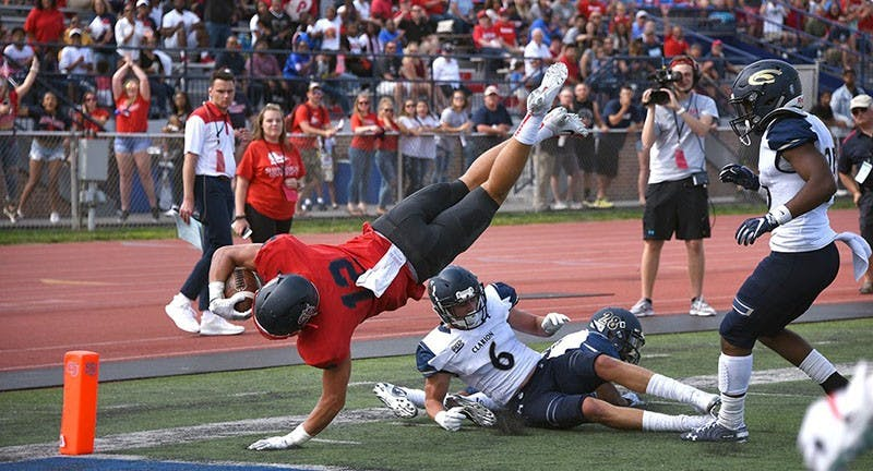 David Balint III dives for the pylon to score a touchdown that narrowed the Red Raiders' deficit. Balint III totaled 64 receiving yards in the loss to Clarion.