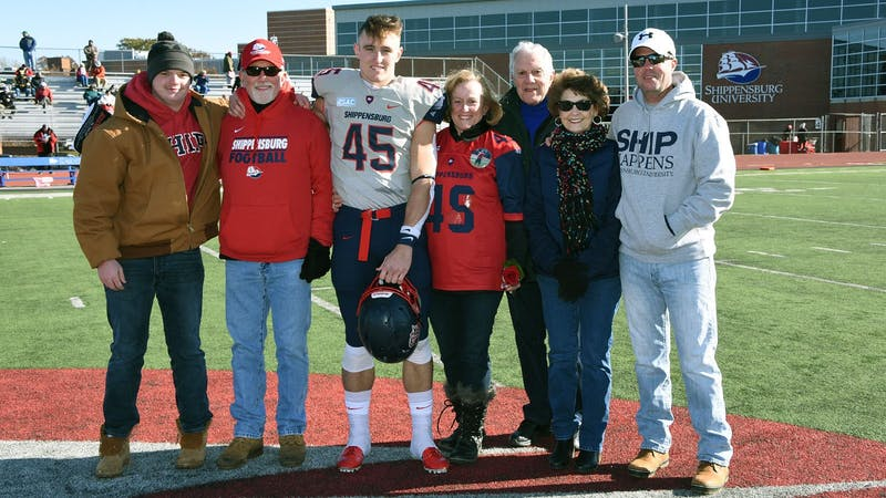 Running back Luke Durkin was one of 11 graduating players honored before Saturday's Senior Day game.