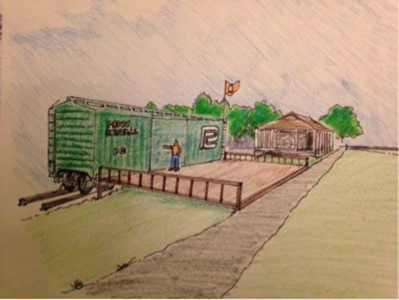 The sketch displays the wooden deck that will extend out from The Shippensburg Station boxcar once the project is finished in 2018. The deck will be used as a venue for events and performances.