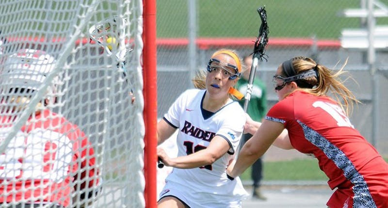 Allison Fugate, center, picked up her second hat trick of the season in SU's win over Edinboro. Fugate is second on the team with 24 goals in 15 contests.