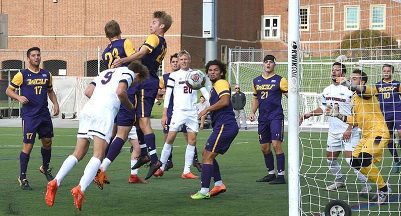 Freshman Julian Horstmann (No. 9) grabs the only goal in the match against WCU. The draw was the third in a row for the Raiders before the loss to the Lakers.