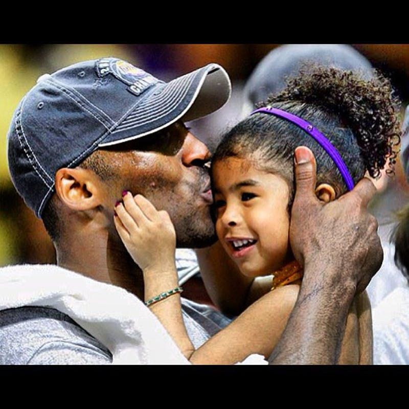 Kobe Bryant embraces his daughter Gianna after winning the NBA Finals in 2009. Bryant and his daughter Gianna were among the nine passengers who died Sunday in a helicopter accident in Calabasas, California.