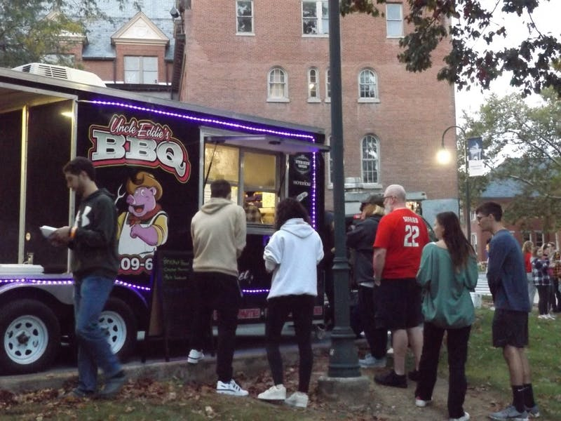 Stdents and faculty enjoy the Food Truck Festival, which began in 2018, as a part of homecoming events, at Old Main.
