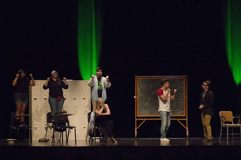 Left to right: Stephanie Rodriguez, Justin Persicketti, Tyler Rock, Francesca Forti and Sophia Jones rehearsed for only three weeks in preparation for the 15-minute musical.