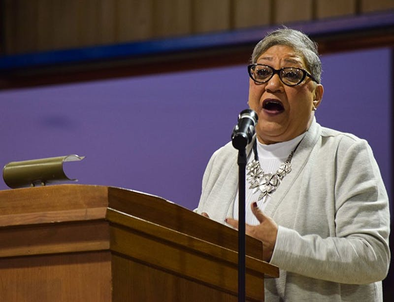 The Rev. Sharon Fisher shares her personal connection to the 2015 Charleston church shooting during a rally sponsored by ACT on Thursday.