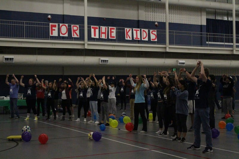 Mini-THON attendees dance during this year's event. All of the money raised was donated to the Four Diamonds Fund.