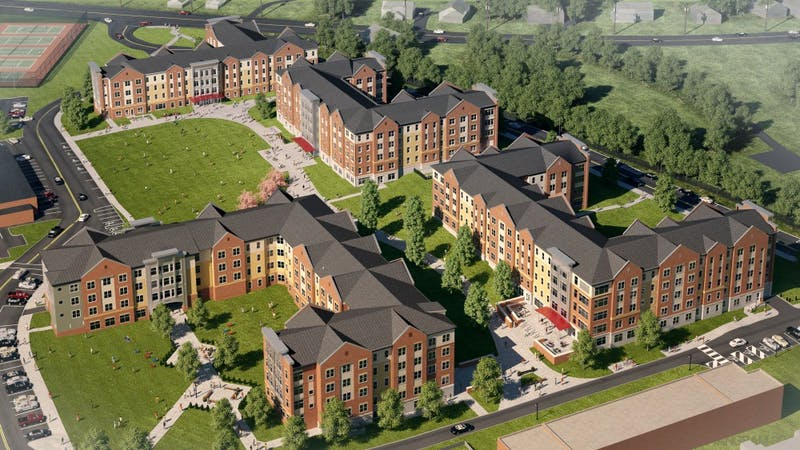 An aerial view shows what SU's campus will look like with all its new residence halls.