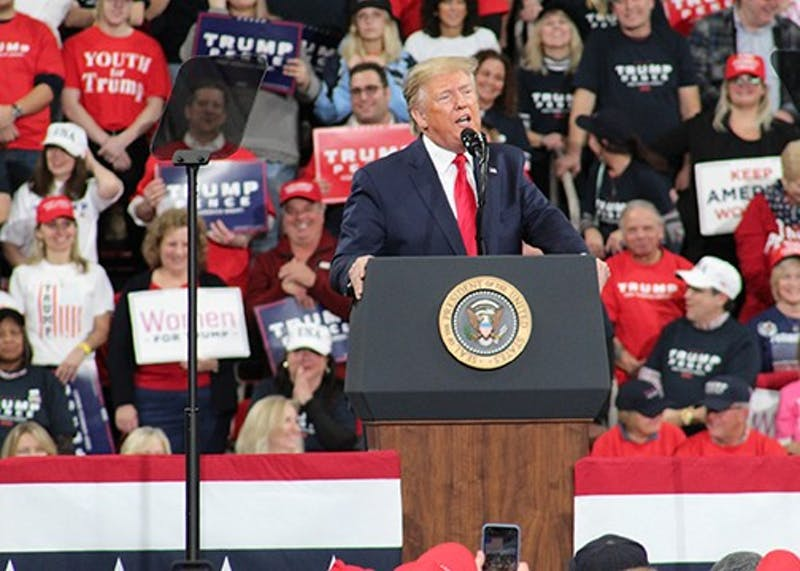 President Donald Trump rallied supporters at the Giant Center in Hershey, Pennsylvania, on Dec. 10.
