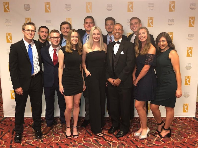 Members of SUTV pose at the Mid-Atlantic Chapter of the National Academy of Television Arts and Sciences Awards in Pittsburgh, Pennsylvania.