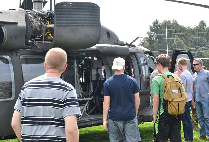 Students were able to take a look inside of the helicopter after it landed at SU.