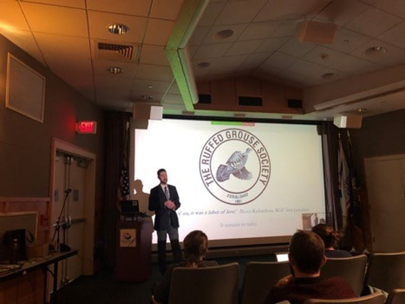 Benjamin Jones, president and CEO of the Ruffed Grouse Society and American Woodstock Society, spoke in the Orndorff Theatre as part of the Center for Land Use and Sustainability's second climate change open forum on Nov. 13.