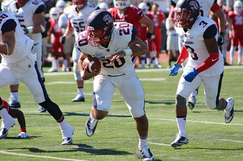 SU running back Colin McDermott shined on Saturday for the Red Raiders, rushing for 121 yards and three touchdowns in the 40-0 win.