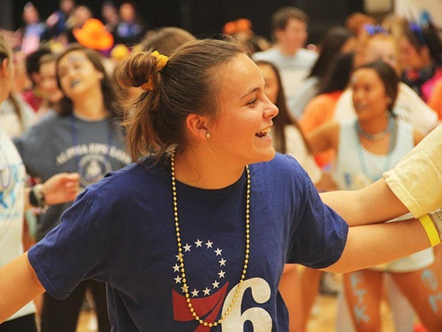 Second-year marketing student Morgan Lill learns a routine at Dance Marathon on Friday, Feb. 29, 2020