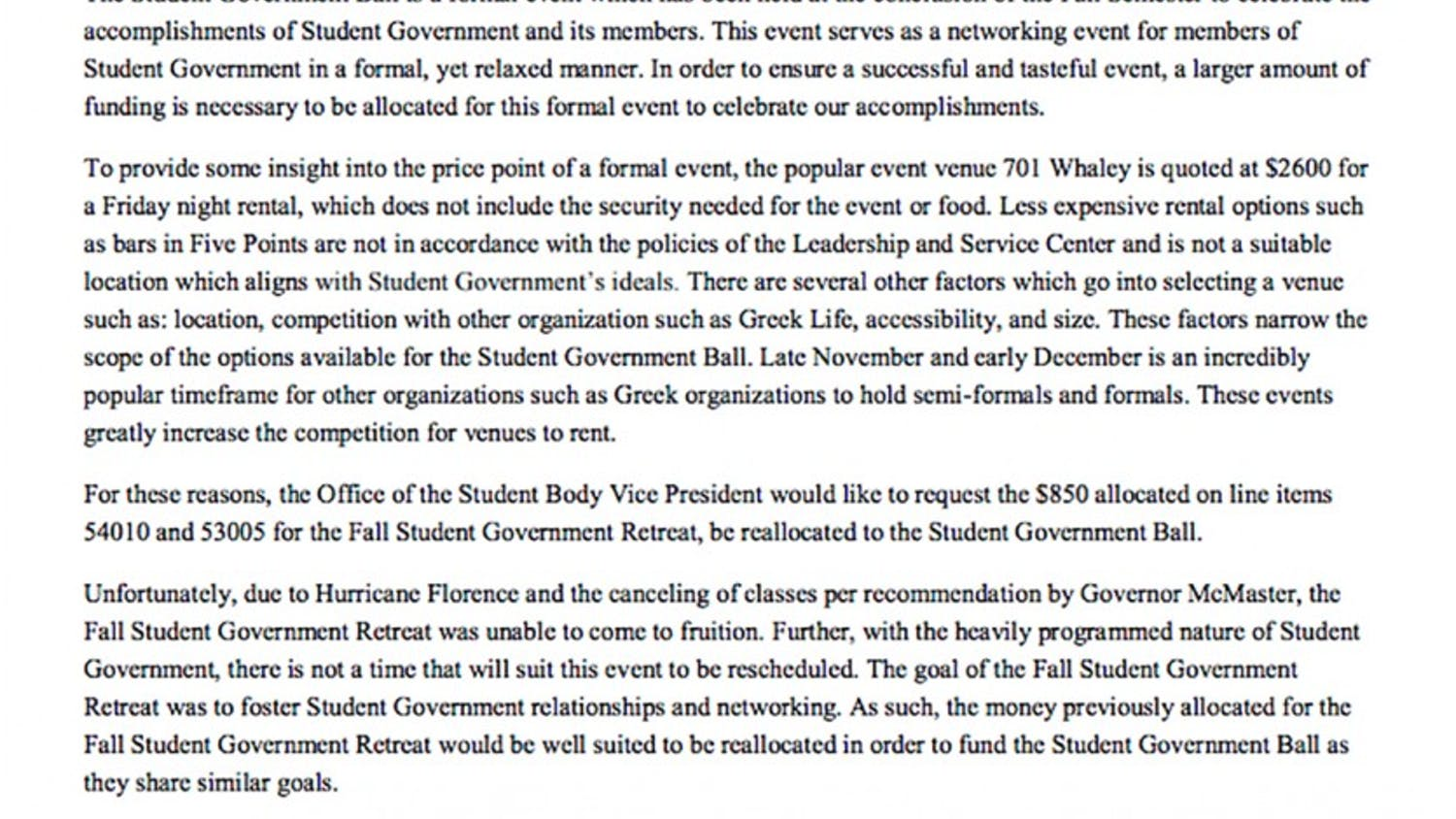 Mills' letter requesting additional funds for the Student Government Fall Awards.