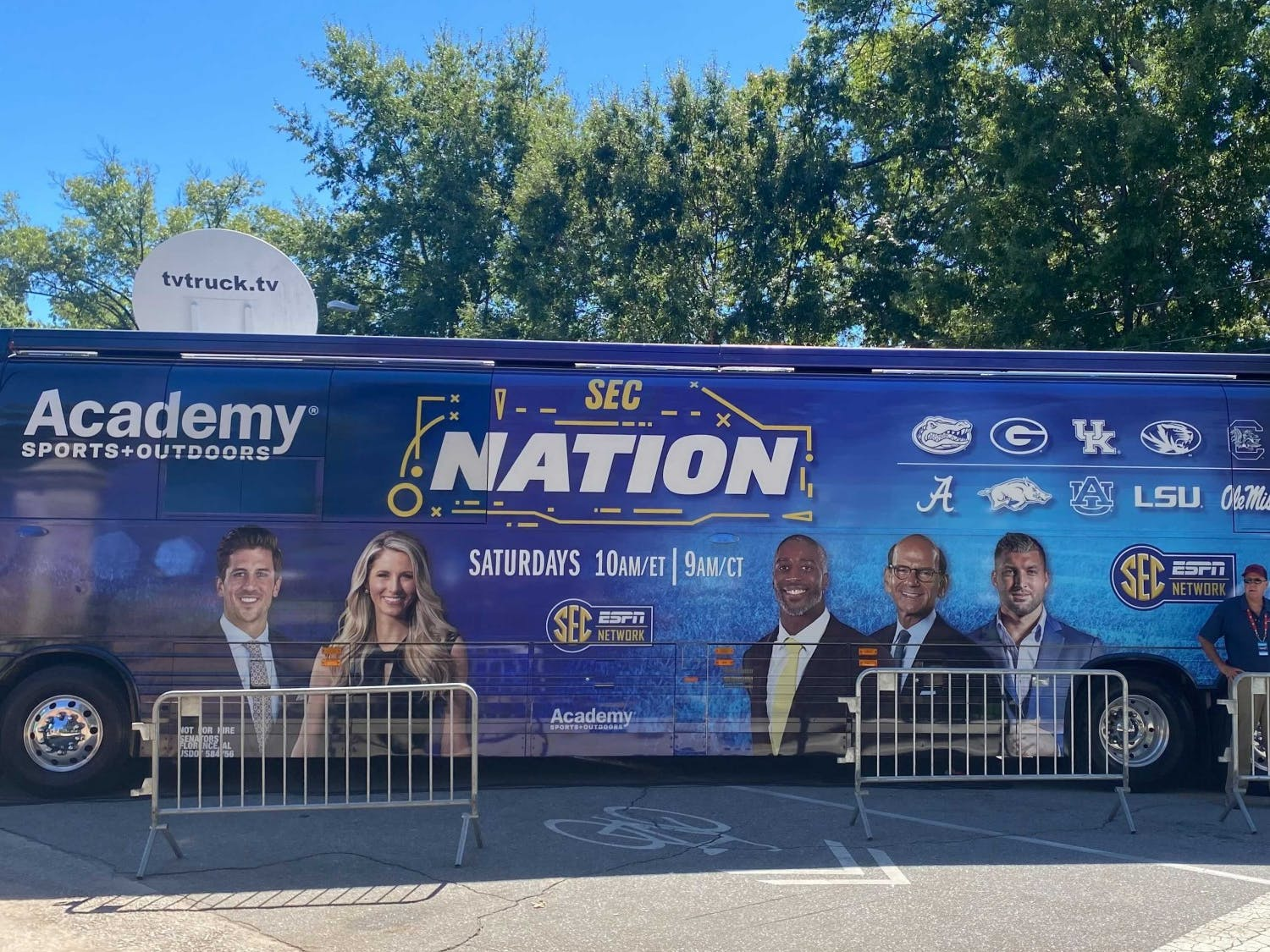 The SEC Nation truck in front of Horseshoe.