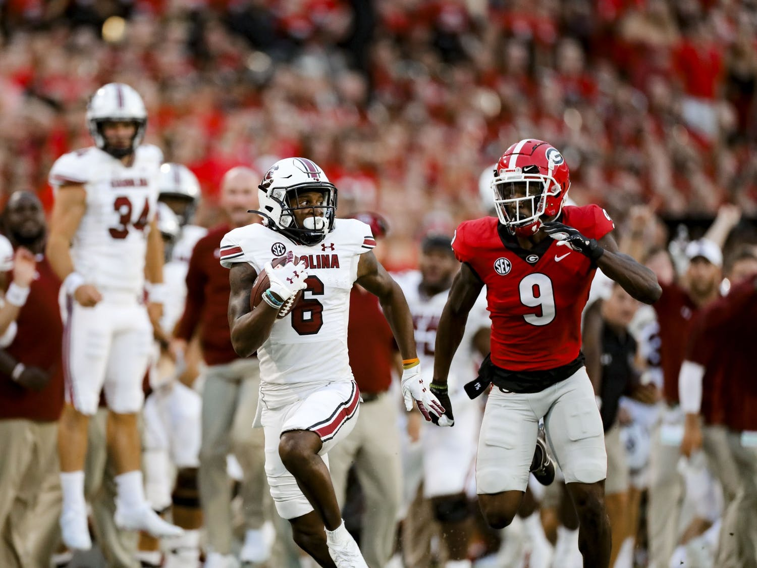 Senior wide receiver Josh Vann runs a breakout play in the first quarter of South Carolina's game against Georgia on Sept. 18, 2021.