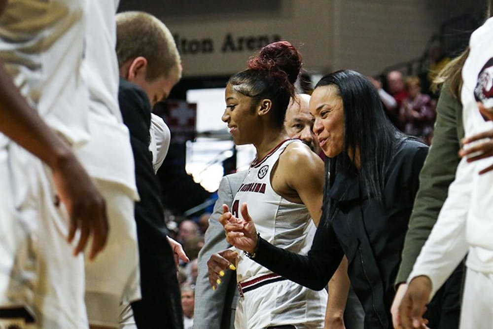 <p>Head coach Dawn Staley talks to players during a timeout at the first round of the NCAA playoffs in the Halton Arena on Friday.&nbsp;</p>