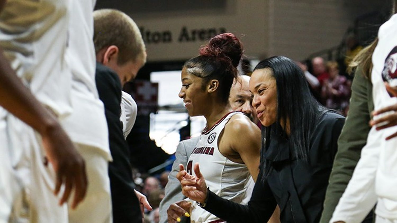Head coach Dawn Staley talks to players during a timeout at the first round of the NCAA playoffs in the Halton Arena on Friday.