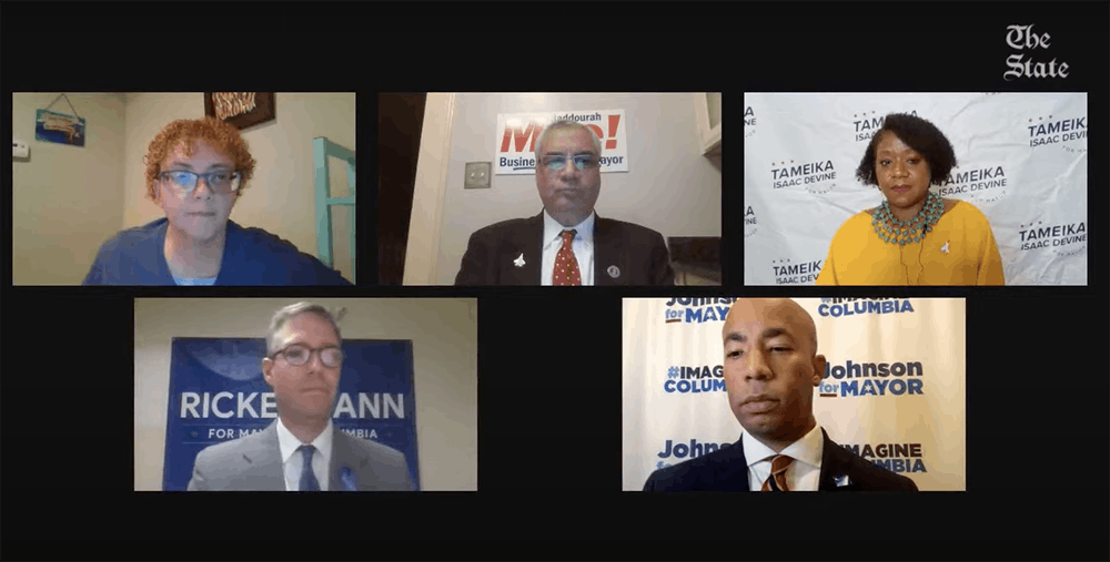 <p>Mayoral candidates for Columbia during The State's virtual debate Wednesday, Oct. 6. The candidates are Daniel Rickenmann, Tameika Isaac Devine, Sam Johnson and Moe Baddourah. The general election is Nov. 2. &nbsp;</p>