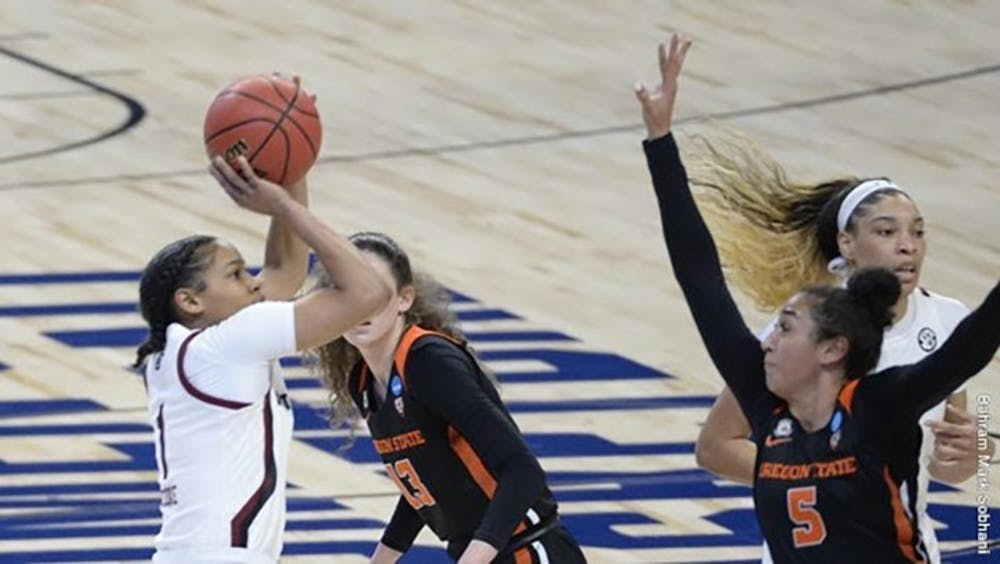 Sophomore guard Zia Cooke prepares to shoot the ball against Oregon State. South Carolina beat Oregon State 59-42.