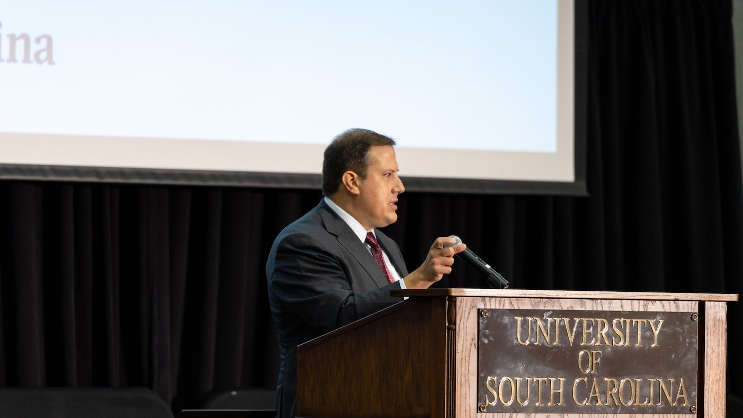 Thad Westbrook, chairman of the University of South Carolina Presidential Search Committee, speaks at a town hall Thursday. The committee hosted the town hall so members of the public could have their voices heard.