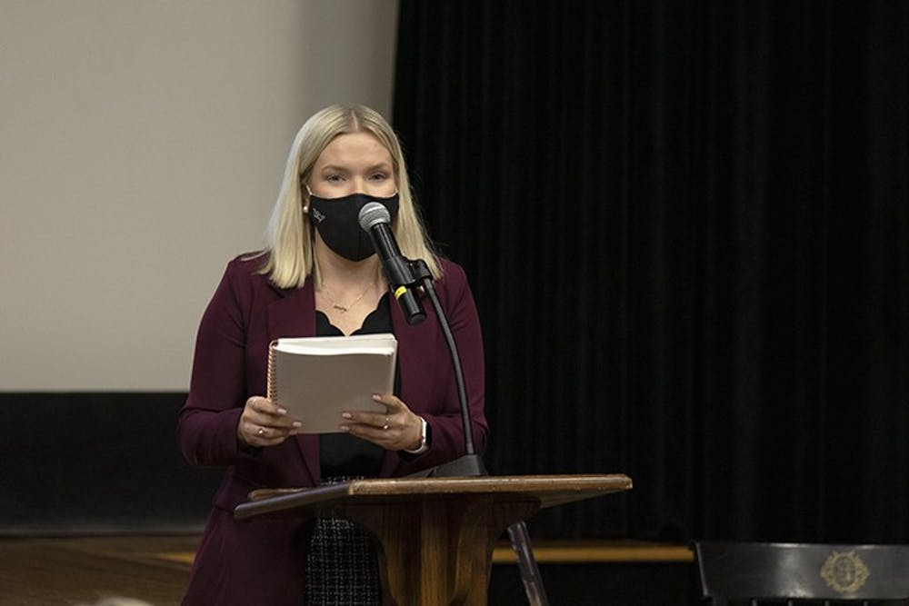 <p>Student Body President Issy Rushton speaks to student senate in September of 2020.&nbsp;</p>