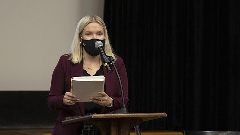 Student Body President Issy Rushton speaks to student senate in September of 2020.