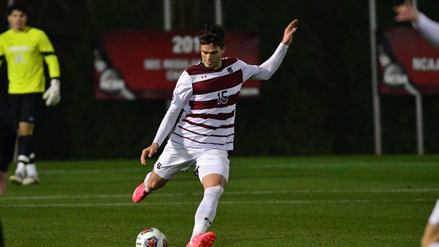 Sophomore defender Mike Roby kicks the ball during the Gamecocks' win over USC Upstate Wednesday. South Carolina won 2-1 in overtime.