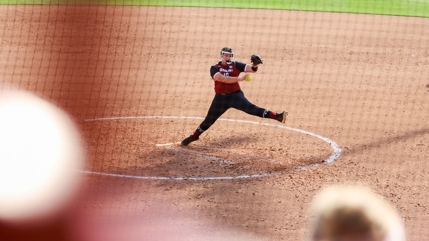 Sophomore pitcher Bailey Betenbaugh pitches the ball toward the Charleston Southern batter during the double header on April 7, 2021.