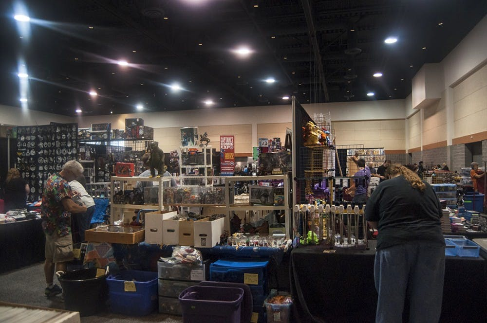 <p>Attendees peruse the show floor of the second Soda City Comic Con that took place at the Columbia Metropolitan Convention Center on Aug. 27 and 28.</p>