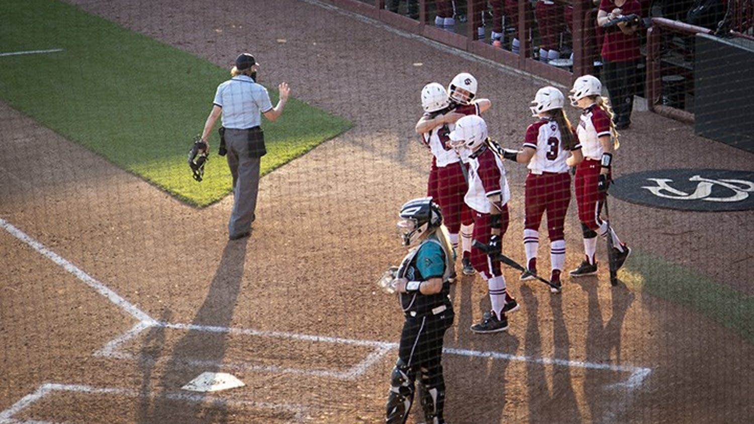 The Gamecocks celebrate homerun by junior catcher Jordan Fabian. Fabian's home run brings the score to 9-0 for the Gamecocks at the end of the second inning.