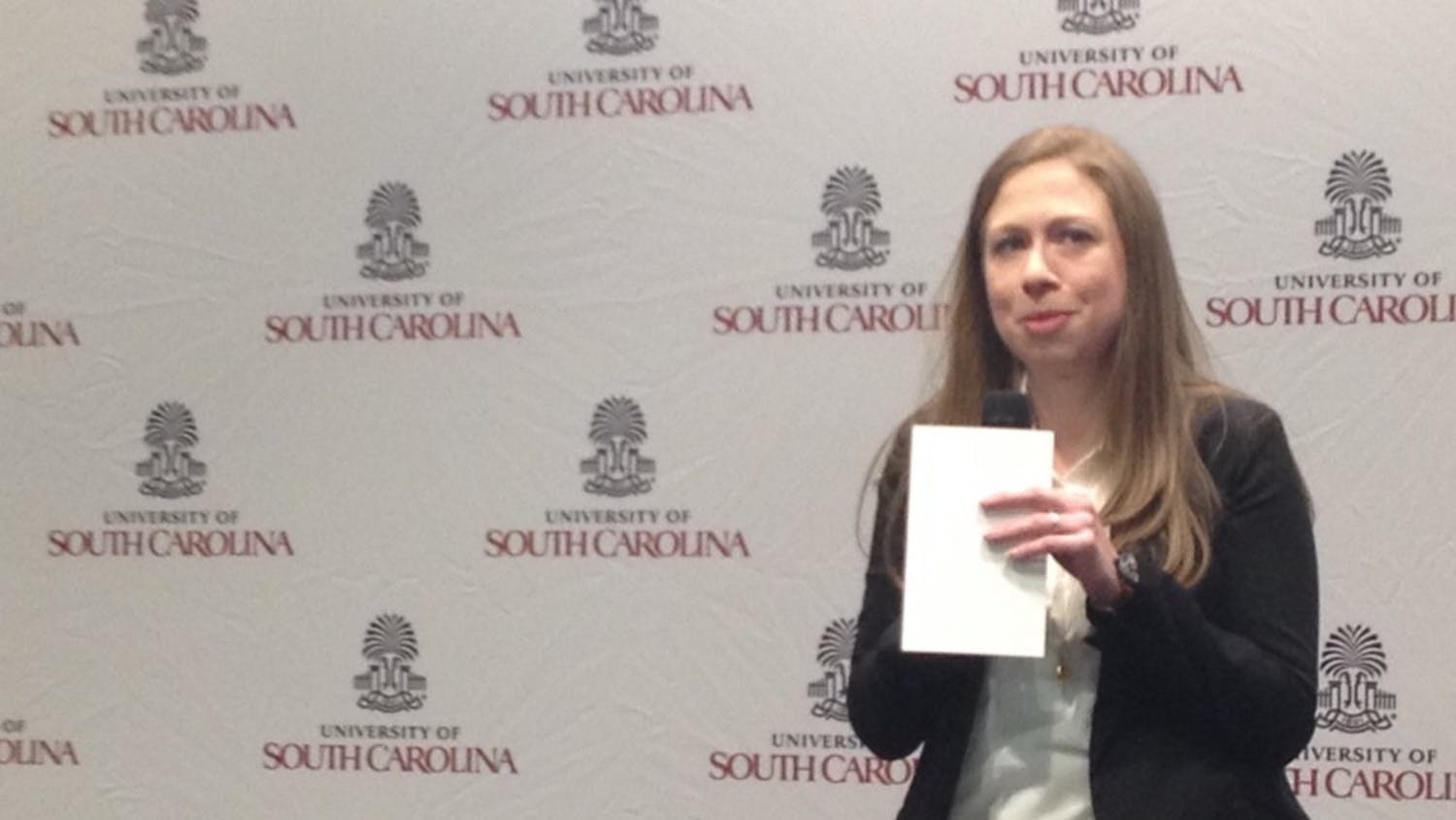 Chelsea Clinton appeared on behalf of her mother Hillary's presidential campaign Friday afternoon at Capstone House.