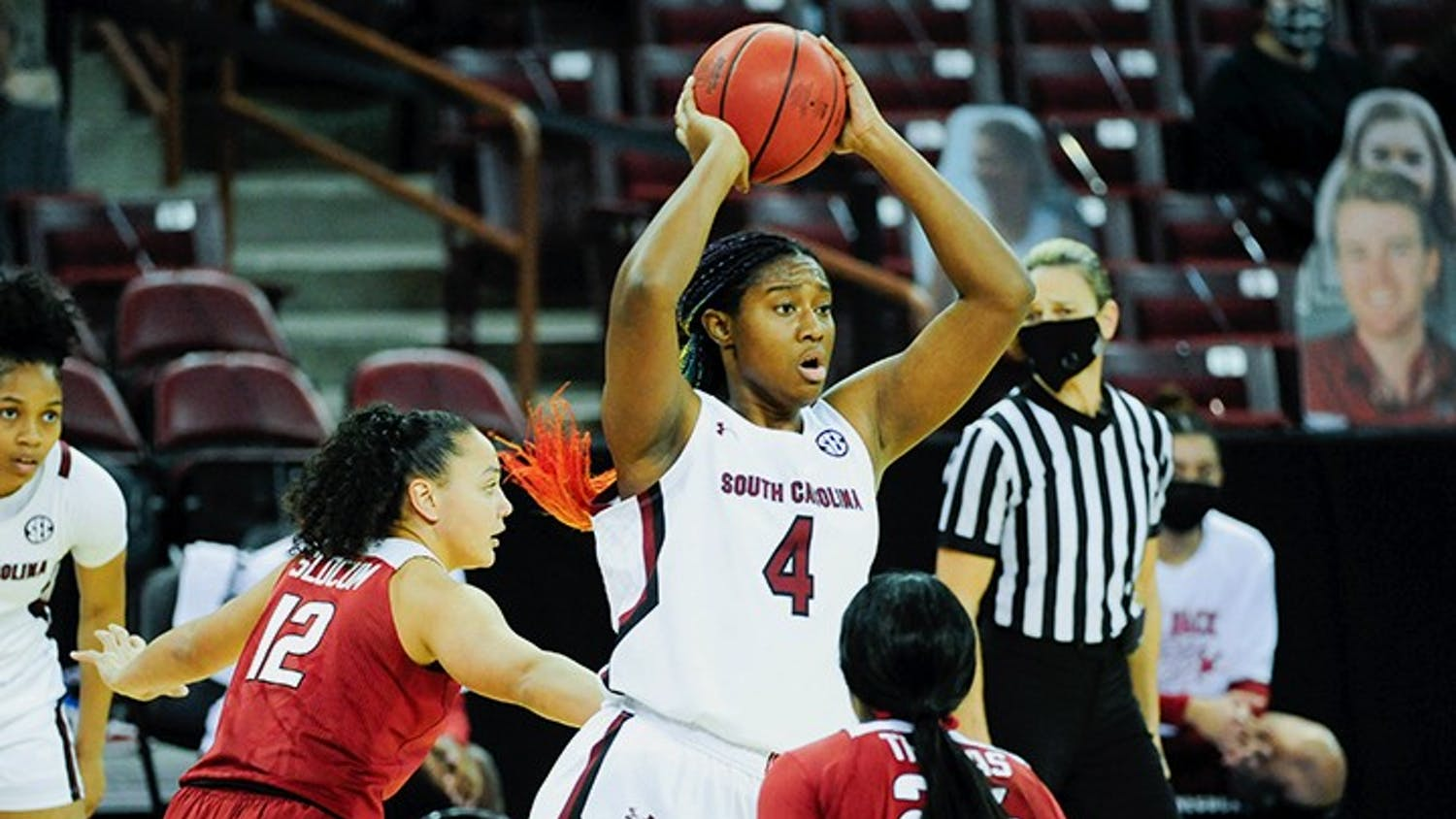 Sophomore forward Aliyah Boston looks to make a pass in South Carolina's Monday win over Arkansas. The Gamecocks beat the Razorbacks 104-82.