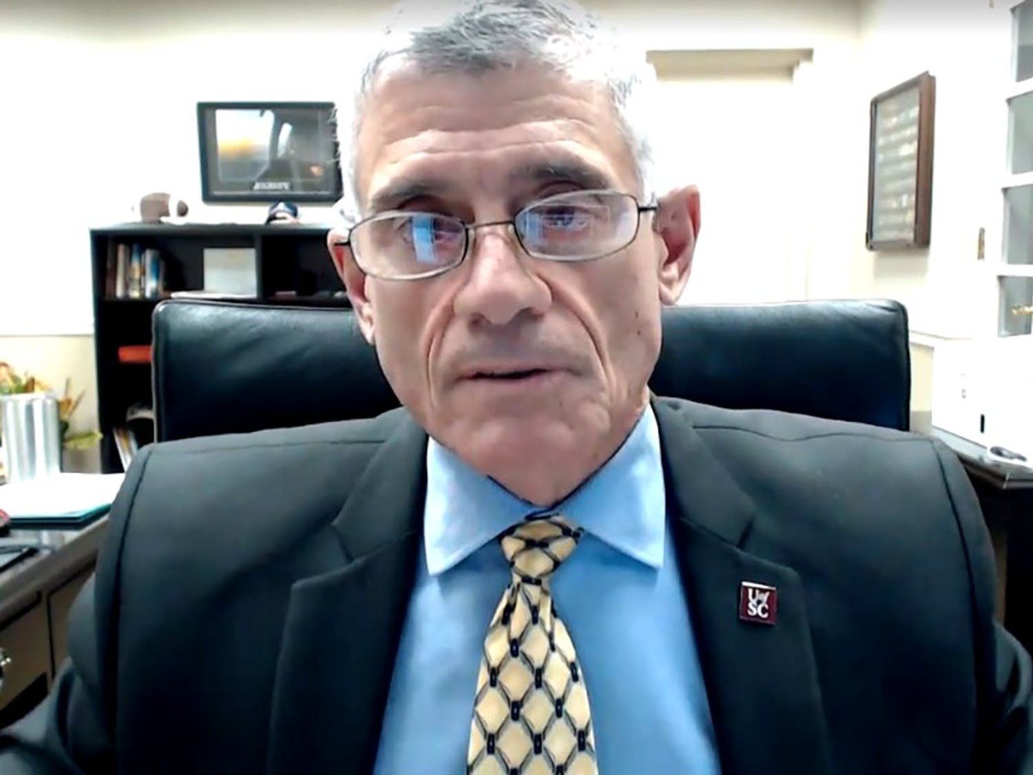 University President Bob Caslen addresses students and families during the virtual town hall on Wednesday, Nov. 4. Caslen and Provost William Tate discussed topics such as December's virtual commencement and what the spring semester will look like.