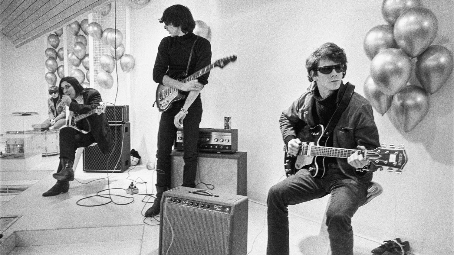 """From left, Maureen """"Moe"""" Tucker, John Cale, Sterling Morrison and Lou Reed from archival photography from """"The Velvet Underground,"""" streaming now on Apple TV+."""
