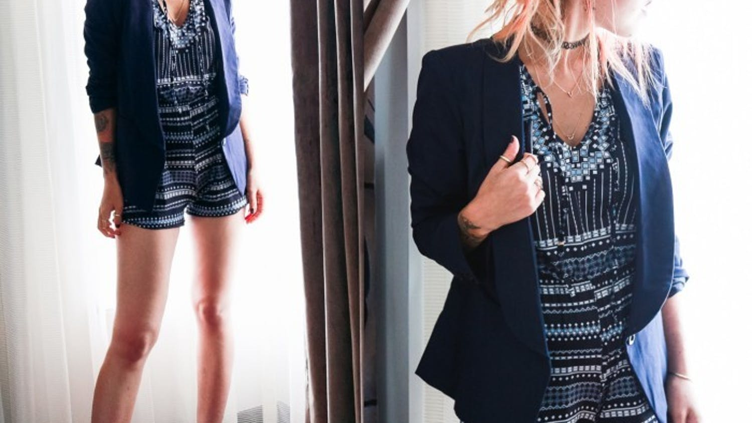 Luanna P's style is all about layering--shirts under shirts, all under jackets.