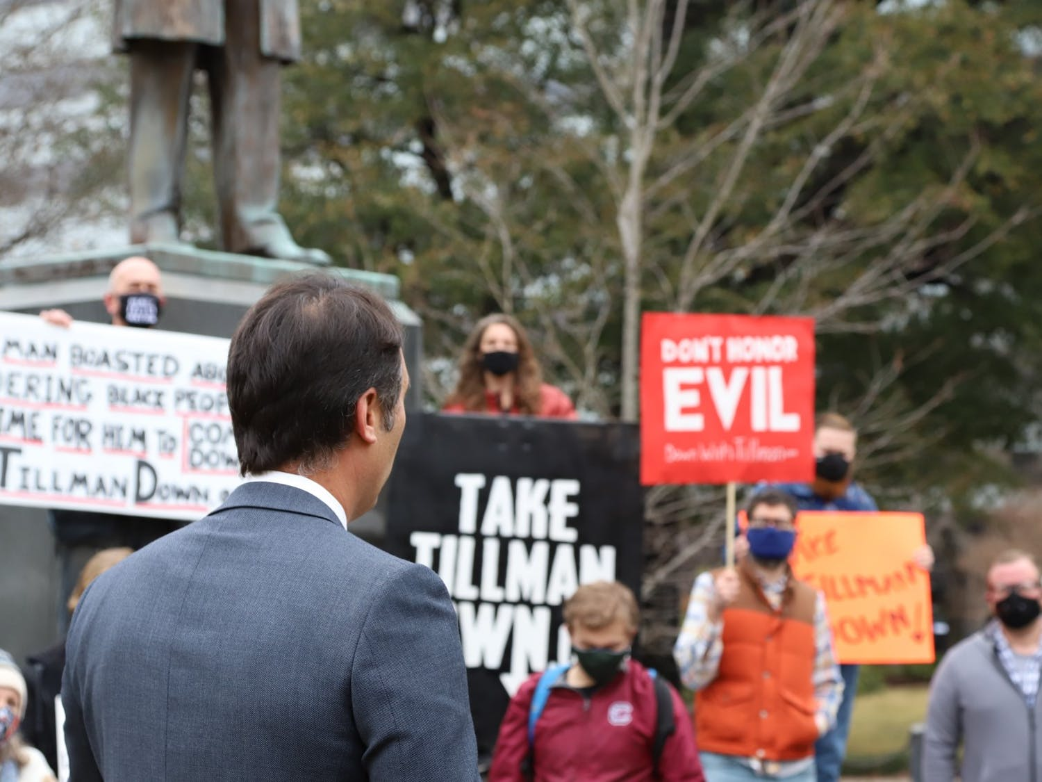 """State Representative Seth Rose faces the crowd of protesters and gives his thoughts on the Benjamin Tillman statue. Rose often referred to Benjamin Tillman as """"Pitchfork Tillman""""."""